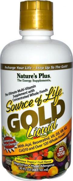 Natures Plus Source of Life Multi-Vitamin, Delicious Tropical Fruit Flavor, Gold, Liquid - 30 fl oz
