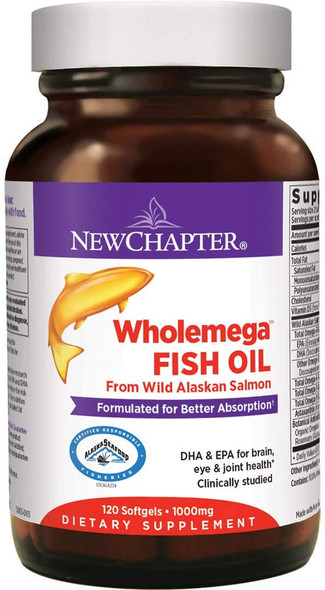 New Chapter, Wholemega Whole Fish Oil, 120 Softgels