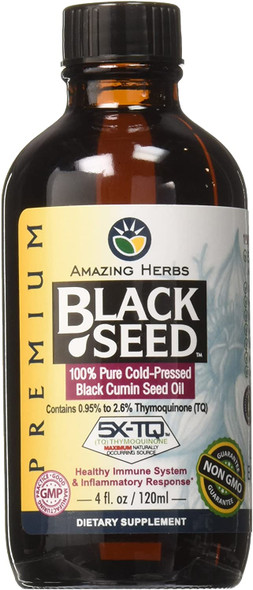 Black Seed Oil, 100% Pure Cold Pressed Black Cumin Seed Oil, 4 oz, By Amazing Herbs,