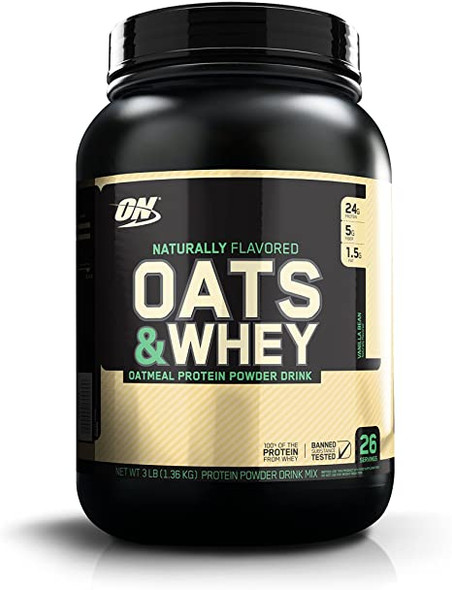 Optimum Nutrition Oats and Whey Protein Powder, Naturally Flavored Vanilla Bean, 3 Pound