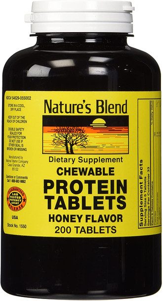 Nature's Blend Protein Chewable 200 Tablets, Honey Flavor
