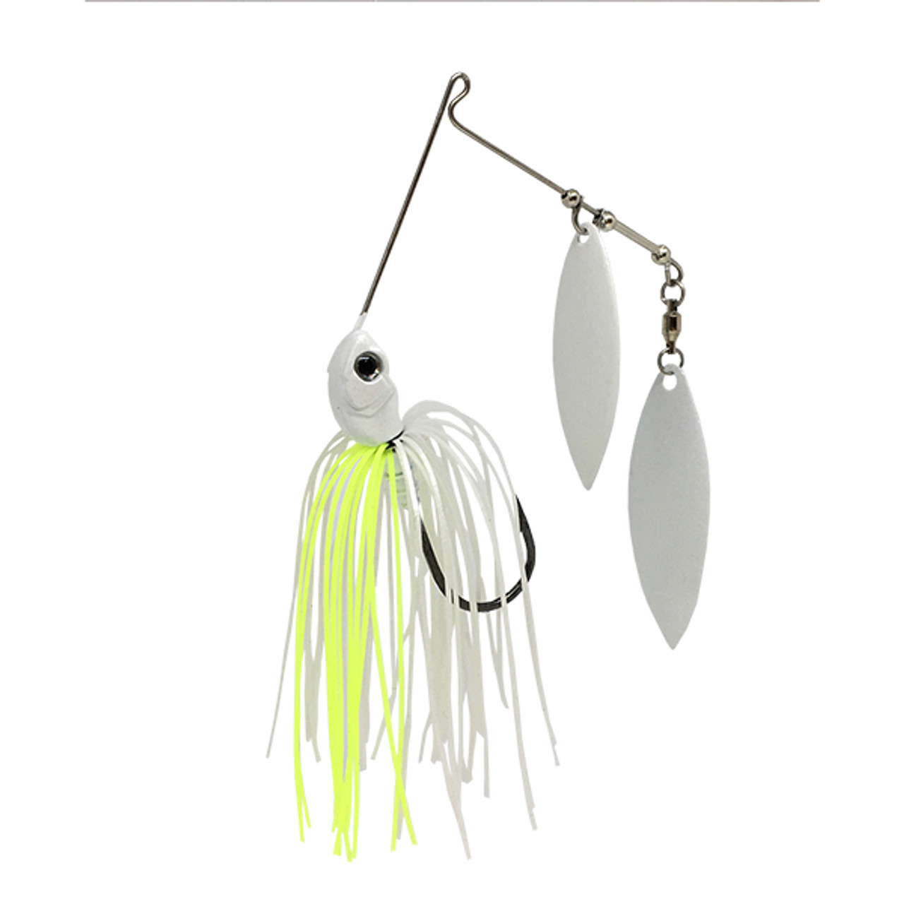 SPINNER BAIT 1//4OZ WITH DOUBLE OKLAHOMA BLADE WHITE SILVER  BLACK FISHING LURE