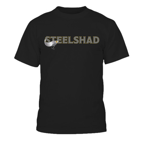 "SteelShad 50/50 Dry Blend Black T-shirt with SteelShad logo on the front, ""Fish Bite It"" across the back."