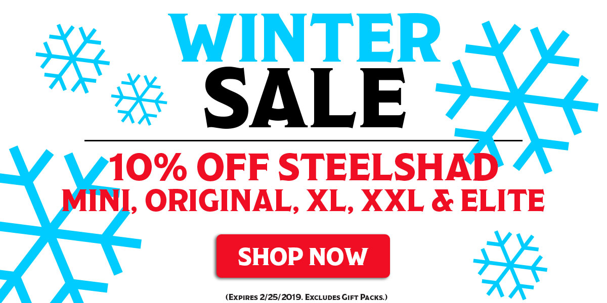 Winter Sale - 10% Off SteelShad Mini, Original, XL, XXL and Elite Series Lures!  Expires 2/25/2019. Excludes Gift Packs.