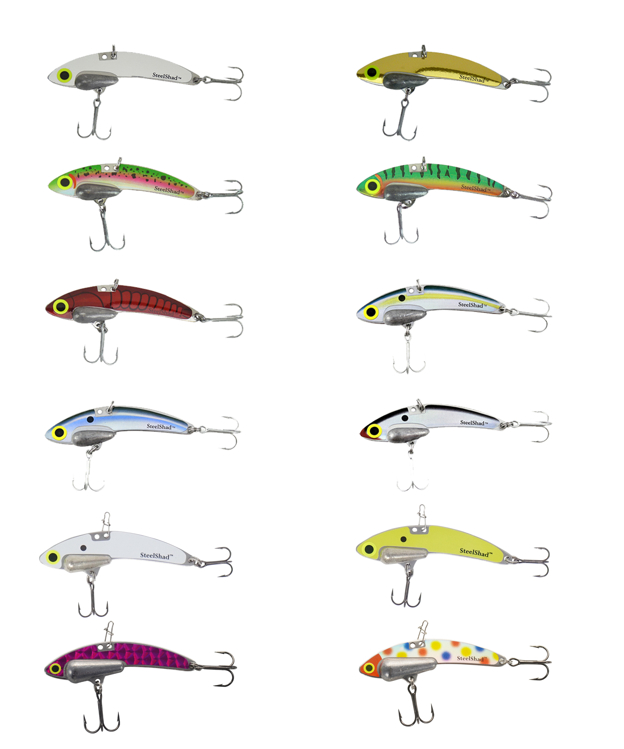 The 12 Colors of SteelShad Lures