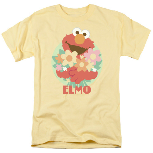 "Sesame Street ""Elmo with flowers"" Mens Unisex T-Shirt -Available sm to 3x 100% Cotton High Quality Pre Shrunk Machine Washable T Shirt"