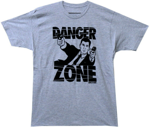 "Archer ""Danger Zone"" Mens Unisex T-shirt -Available in Sm to 2x 100% Cotton High Quality Pre Shrunk Machine Washable T Shirt"
