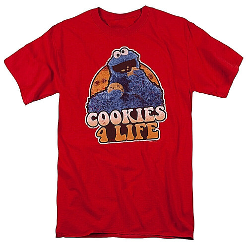 """Sesame Street """"Cookies 4 Life"""" Mens Unisex T-Shirt, Available Sm to 3x 100% Cotton High Quality Pre Shrunk Machine Washable T Shirt"""