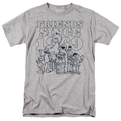 "Sesame Street ""Friends Since 1969"" Mens Unisex T-Shirt, Available Sm to 3x 100% Cotton High Quality Pre Shrunk Machine Washable T Shirt"