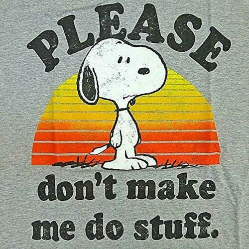 """Peanuts, Snoopy """"Please Don't Make Me Do Stuff"""" Mens T-Shirt -Available Sm to Lg 100% Cotton High Quality Pre Shrunk Machine Washable T Shirt"""