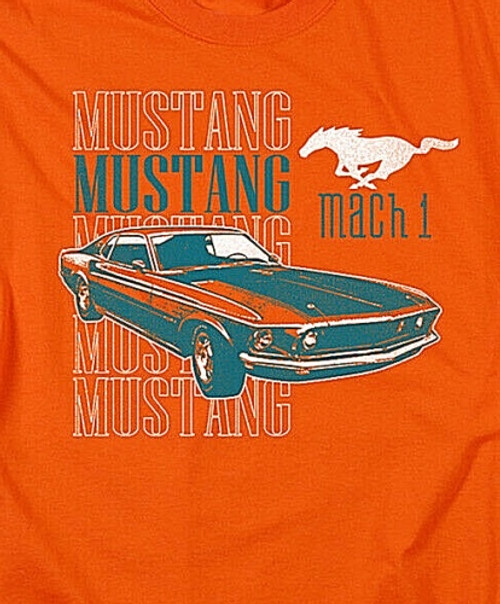 Ford Mustang Mach 1 Mens Unisex T-Shirt. Available Sm to 3x 100% Cotton High Quality Pre Shrunk Machine Washable T Shirt