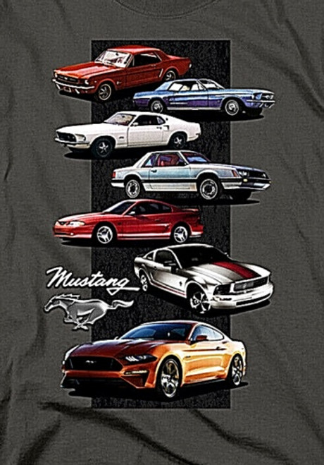 "Ford Mustang ""History 1965 to Present"" Mens Unisex T-Shirt. Available Sm to 3x 100% Cotton High Quality Pre Shrunk Machine Washable T Shirt"