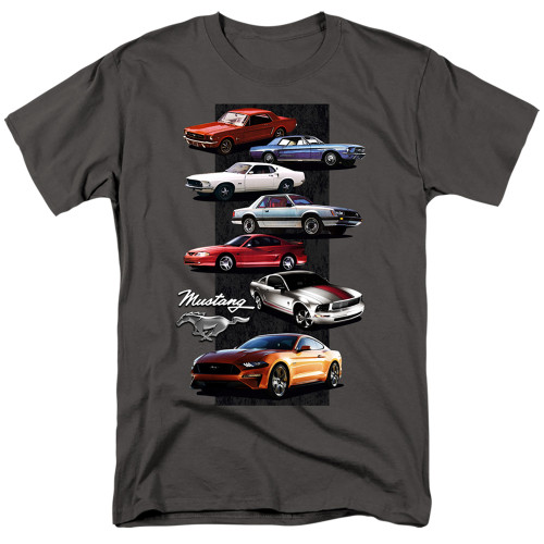 """Ford Mustang """"History 1965 to Present"""" Mens Unisex T-Shirt. Available Sm to 5x"""