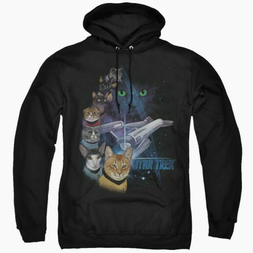 Star Trek Cats (Feline Galaxy Cast) Mens Pullover Hoodie -Available Sm to 2x 100% Cotton High Quality Pre Shrunk Machine Washable Hoodie