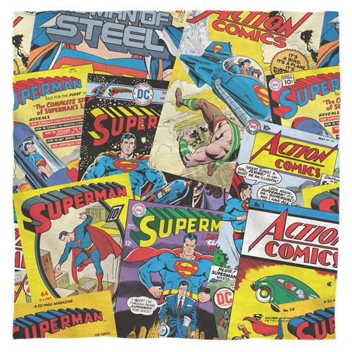 Superman-fan bandana 100% polyester light weight ultra-soft feel size 22x22