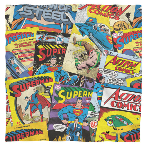 Superman-fan bandana 100% polyester light weight ultra-soft feel size 22x22