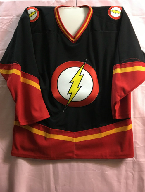 Look like a pro in this professional quality hockey jersey featuring a large embroidered chest patch and two matching shoulder patches.  All jerseys are made of 100% polyester and professionally sewn to withstand the most rigorous play!