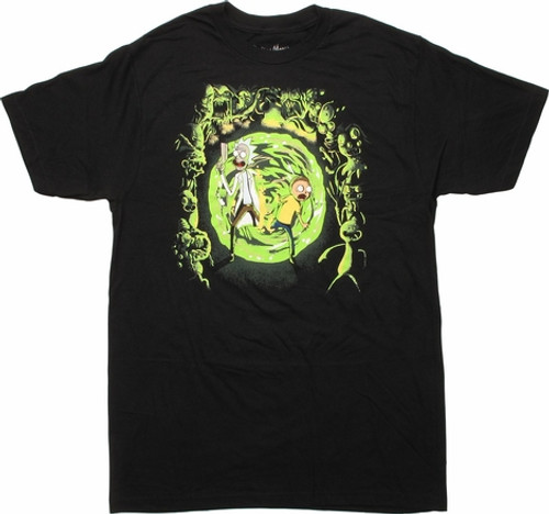 Rick and Morty -Portal and the monsters 100% Cotton High Quality Pre Shrunk Machine Washable T Shirt