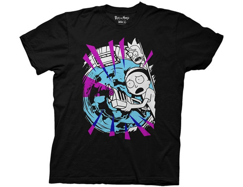 Rick and Morty - with portal and gun 100% Cotton High Quality Pre Shrunk Machine Washable T Shirt