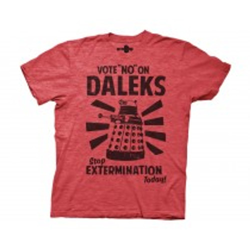 Dr Who vote no on Daleks 100% Cotton High Quality Pre Shrunk Machine Washable T Shirt
