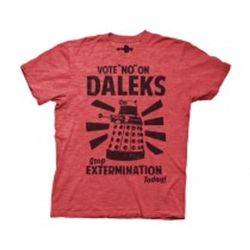 Dr Who vote no on Daleks 100% Cotton High Quality Pre Shrunk Machine Washable T Shirt