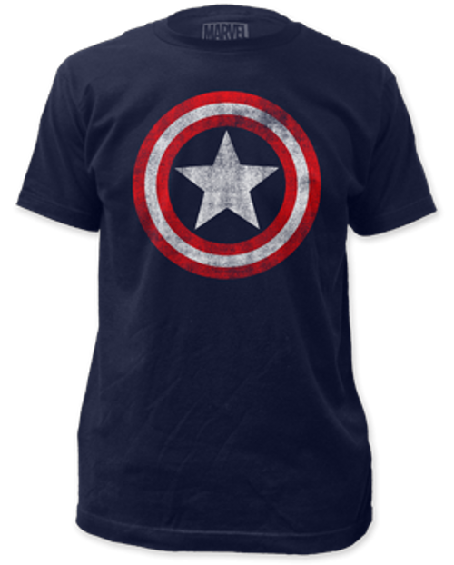 Capt America-distressed shield 100% Cotton High Quality Pre Shrunk Machine Washable T Shirt