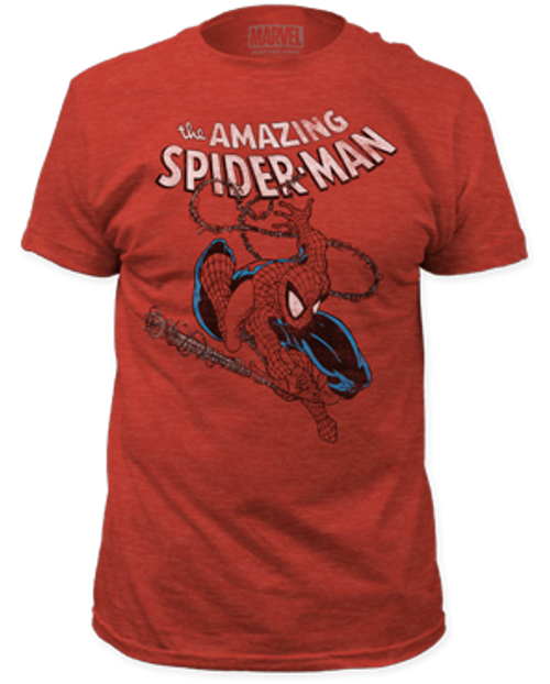 Spiderman-Spidey swinging 100% Cotton High Quality Pre Shrunk Machine Washable T Shirt