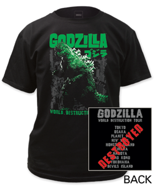 Godzilla-World Destruction Tour adult unisex t-shirt