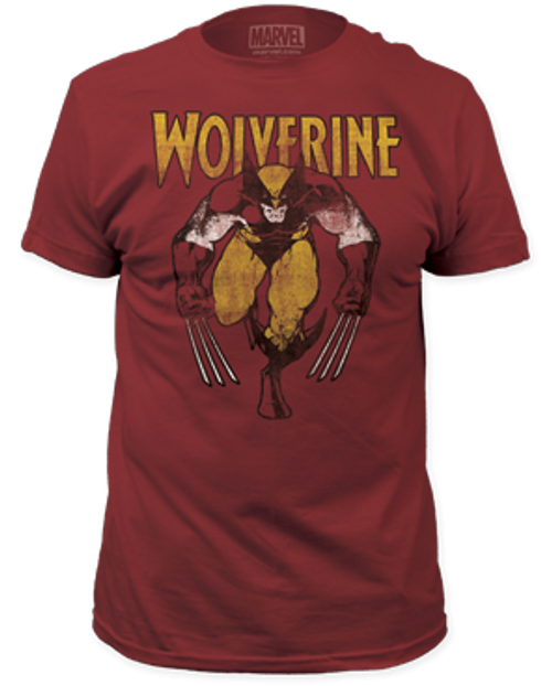 Wolverine on Red 100% Cotton High Quality Pre Shrunk Machine Washable T Shirt