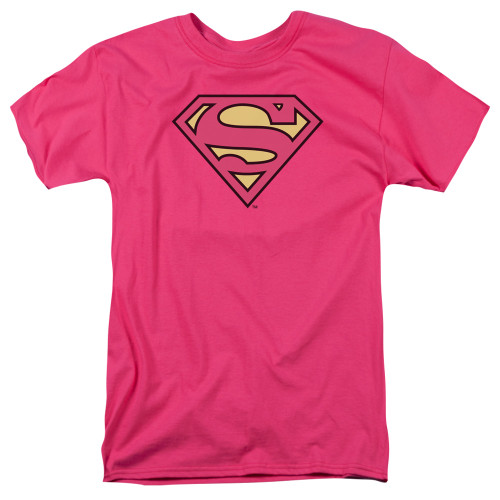 Superman Classic logo (pink) 100% Cotton High Quality Pre Shrunk Machine Washable T Shirt