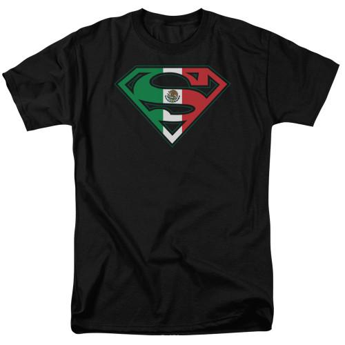 Superman-Mexican Flag Shield 100% Cotton High Quality Pre Shrunk Machine Washable T Shirt