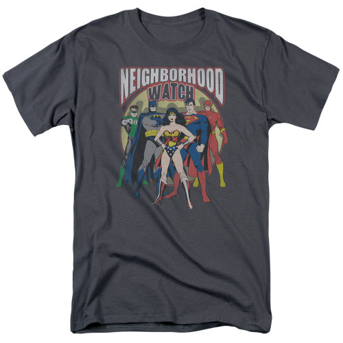 JLA-Neighborhood Watch 100% Cotton High Quality Pre Shrunk Machine Washable T Shirt