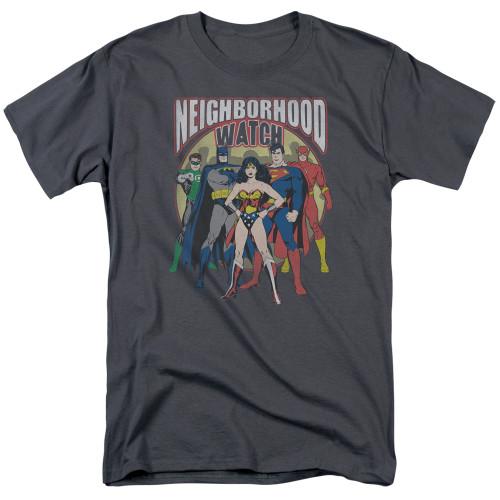 JLA-Neighborhood Watch 100% Cotton High Quality Pre Shrunk Machine Washable T Shirt