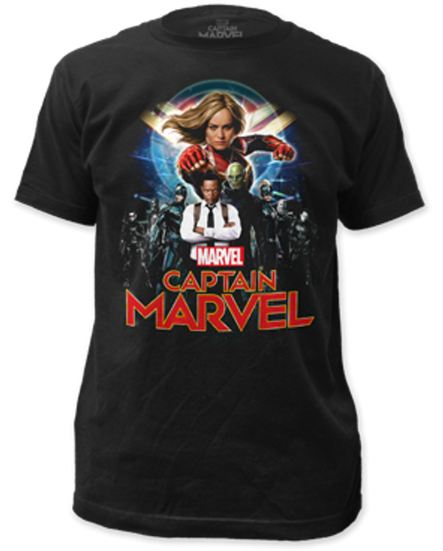 Capt Marvel-Group Shot 100% Cotton High Quality Pre Shrunk Machine Washable T Shirt