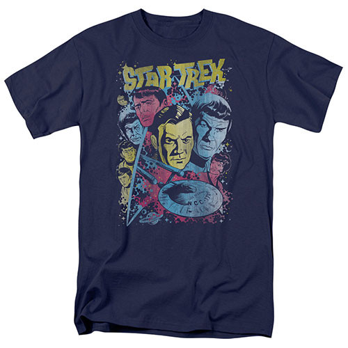 star trek classic crew illustrated adult unisex tshirt 100% Cotton High Quality Pre Shrunk Machine Washable T Shirt