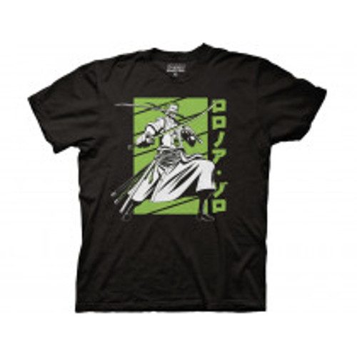 One piece Zoro white and green crew 100% Cotton High Quality Pre Shrunk Machine Washable T Shirt