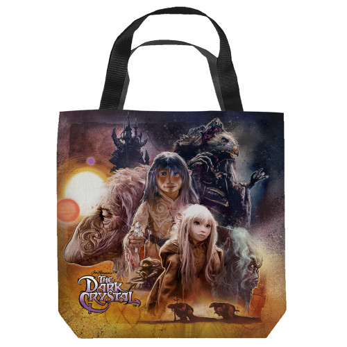 "Front - 16 inches by 16 inches,  Dark Crystal Painted Poster"" Tote Bag.  This highly collectible bag is made of a spun polyester, and has the look and feel of a ""Light Weight Cotton Canvas Bag"".  Includes 2 black handles and is printed on both sides with same image shown."