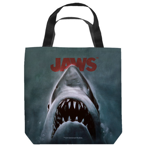 "16 inches by 16 inches,  Jaws-Shark"" Tote Bag.  This highly collectible bag is made of a spun polyester, and has the look and feel of a ""Light Weight Cotton Canvas Bag"".  Includes 2 black handles and is printed on both sides with same image shown."
