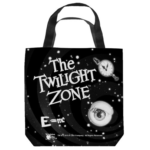 "16 inches by 16 inches,Twlight Zone-Another dimension"" Tote Bag.  This highly collectible bag is made of a spun polyester, and has the look and feel of a ""Light Weight Cotton Canvas Bag"".  Includes 2 black handles and is printed on both sides with same image shown."