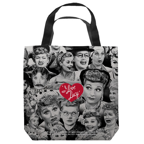 "16 inches by 16 inches,  I love Lucy-Faces"" Tote Bag.  This highly collectible bag is made of a spun polyester, and has the look and feel of a ""Light Weight Cotton Canvas Bag"".  Includes 2 black handles and is printed on both sides with same image shown."