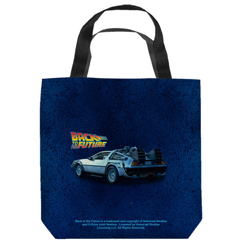 "16 inches by 16 inches,  Back to the Future-Delorean"" Tote Bag.  This highly collectible bag is made of a spun polyester, and has the look and feel of a ""Light Weight Cotton Canvas Bag"".  Includes 2 black handles and is printed on both sides with same image shown."