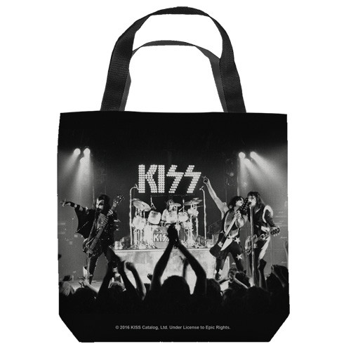 "16 inches by 16 inches,  Kiss-Staged ""Movie Collage"" Tote Bag.  This highly collectible bag is made of a spun polyester, and has the look and feel of a ""Light Weight Cotton Canvas Bag"".  Includes 2 black handles and is printed on both sides with same image shown."