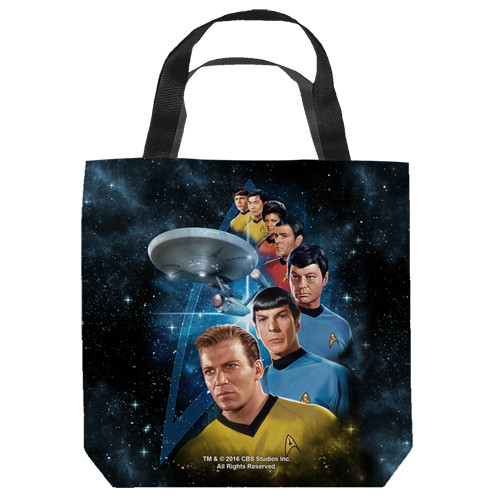 "16 inches by 16 inches,  Star Trek-Among the stars"" Tote Bag.  This highly collectible bag is made of a spun polyester, and has the look and feel of a ""Light Weight Cotton Canvas Bag"".  Includes 2 black handles and is printed on both sides with same image shown."