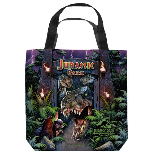 "16 inches by 16 inches,  Jurassic Park-Welcome to the park"" Tote Bag.  This highly collectible bag is made of a spun polyester, and has the look and feel of a ""Light Weight Cotton Canvas Bag"".  Includes 2 black handles and is printed on both sides with same image shown."