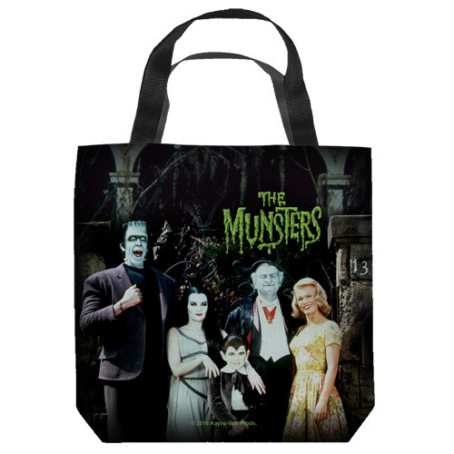 "16 inches by 16 inches,  Munsters-The Family"" Tote Bag.  This highly collectible bag is made of a spun polyester, and has the look and feel of a ""Light Weight Cotton Canvas Bag"".  Includes 2 black handles and is printed on both sides with same image shown."