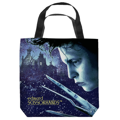 "16 inches by 16 inches,  Edward Scissorhands - Movie Poster"" Tote Bag.  This highly collectible bag is made of a spun polyester, and has the look and feel of a ""Light Weight Cotton Canvas Bag"".  Includes 2 black handles and is printed on both sides with same image shown."