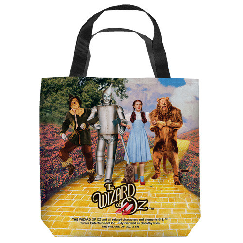 "16 inches by 16 inches, Wizard of Oz-On the road"" Tote Bag.  This highly collectible bag is made of a spun polyester, and has the look and feel of a ""Light Weight Cotton Canvas Bag"".  Includes 2 black handles and is printed on both sides with same image shown."