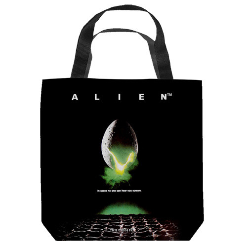 "16 inches by 16 inches,  Alien-Poster"" Tote Bag.  This highly collectible bag is made of a spun polyester, and has the look and feel of a ""Light Weight Cotton Canvas Bag"".  Includes 2 black handles and is printed on both sides with same image shown."
