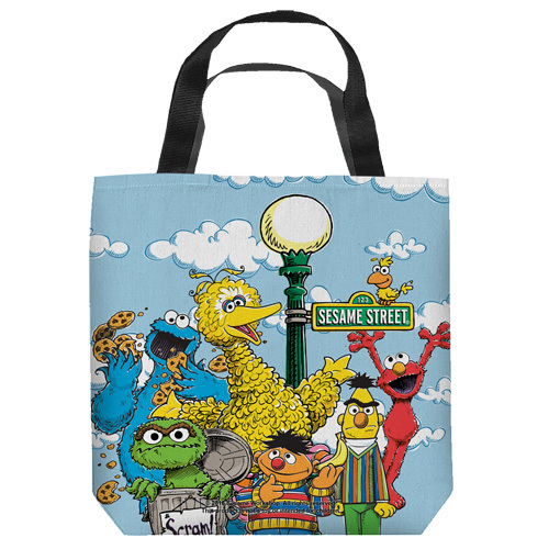 "16 inches by 16 inches,  Sesame Street-Retro Gang"" Tote Bag.  This highly collectible bag is made of a spun polyester, and has the look and feel of a ""Light Weight Cotton Canvas Bag"".  Includes 2 black handles and is printed on both sides with same image shown."