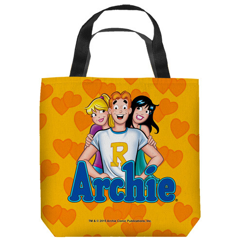 "16 inches by 16 inches,  Archie Comics-Love Triangle"" Tote Bag.  This highly collectible bag is made of a spun polyester, and has the look and feel of a ""Light Weight Cotton Canvas Bag"".  Includes 2 black handles and is printed on both sides with same image shown."